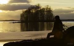 Farewell the sun (>>Marko<<) Tags: joensuu kuhasalo oskari flare suomi finland pyhäselkä islet landsape man sit male water lake canon valokuvaus