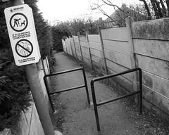 322/365: Twitchel (Kelvin P. Coleman) Tags: canon powershot nottingham urban path footpath alley alleyway trees metal barrier concrete panel fence streetlight lamp post sign autumn 365 bw noiretblanc schwarzweiss blancoynegro streetsign tilt tilted wideangle