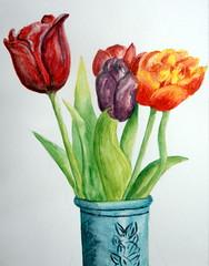 Vase of flowers 02, by Rosana S. (Dona Mincia) Tags: stilllife flower art glass watercolor painting paper flor study tulip mug daisy vase quick margarida vaso caneca tulipa aquarela jarra naturezamorta