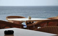 LZ - Playa Blanca - Breakfast (The Travelling Bum) Tags: blue sea sky table dof chairs lanzarote tables playablanca lz 2012