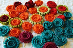 Making flowers from recycled felt hats (woolly  fabulous) Tags: roses orange flower green wool recycled turquoise felt daisy hatfelt