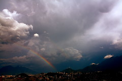 The storm isn't the problem. The problem is not knowing where to see. (ProfePoncho) Tags: storm mountains arcoiris clouds rainbow nubes tormenta monterrey montaas ponchoalarcon