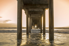 Scripps Pier Waves Crashing (damiendavis) Tags: ocean california sunset beach la san surf pacific diego jolla