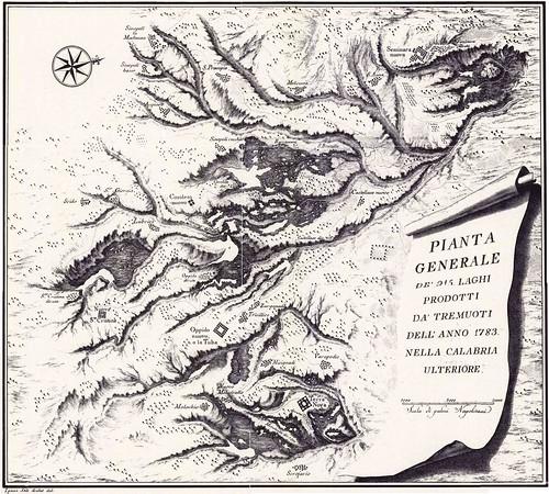 PIANTA GENERALE DEI 215 LAGHI PRODOTTI DA TREMUOTI DELL ANNO 1783 - CALABRIA ULTERIORE
