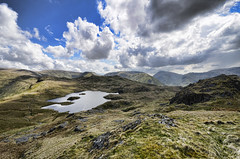 Angle Tarn Two (mjb868) Tags: mountains clouds walking landscape nationalpark scenery solitude lakes lakedistrict rocky trail cumbria fells mountaineering vista peaks tarn rugged rambling moorland d7000 mjb868