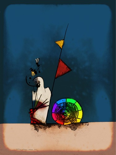 au milieu de nulle part 123, flabbergasted ghost watching a color wheel