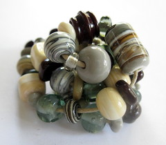 Earth tones Lampwork Beads, SRA (Beth Singleton) Tags: brown glass grey beads handmade gray ivory lampwork artisan earthtones sra neutral silveredivory bethsingleton