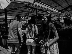 Rialto (ruggeroranzani) Tags: people woman monochrome donna shadows market streetphotography venezia mercato blackwhitephotos superwideheliar15mmf45