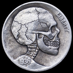 buffalo skull (Seth Basista Engraving) Tags: art halloween modern skull necklace carved seth coin coins jewelry engraving horror nickel nickels hobo engraved sculpted basista