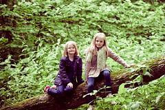 the girls (*brit*girl*) Tags: girls log treetrunk sit mollie daisy