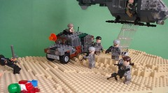 Capturing Bloodhound (3) (Kit Bricksto) Tags: desert lego special helicopter chase diorama forces moc pursue hummvee ec635