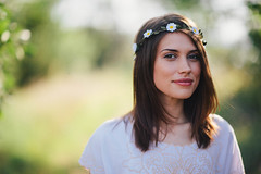 Erica McStay. (The Vision Beautiful) Tags: portrait white flower nature girl beautiful outdoors model dress gorgeous sunny fairy hippie crown brunette ericamcstay
