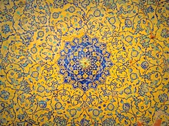 Yellow and blue floral dome mosaics (German Vogel) Tags: floral beautiful yellow circle tile design asia pattern iran geometry mosaic islam middleeast mosque symmetry ceiling dome fractal islamic isfahan tilework monotheism imammosque 398 islamicrepublic westasia gettyimagesmiddleeast sheikhbahaei