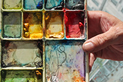 The colours of Paul Goldsmith. (Ian McWilliams.) Tags: life streetart art rainbow artist colours hand tools homemade streetartist watercolour watercolours palette newcastleupontyne paints paulgoldsmith homemadepaint canon550d