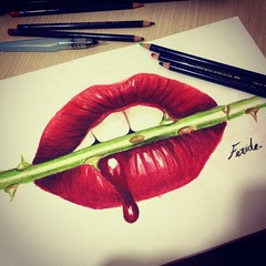 (Feridecinarli) Tags: red colour art rose illustration pencil blood drawing lips watercolour