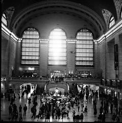 Grand Central Station (Rupert Hitchcox LRPS) Tags: city newyorkcity urban bw usa newyork brooklyn rolleiflex subway minolta manhattan unitedstatesofamerica queens empirestate contrasts