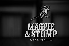 & Stump (D [Red] Photography) Tags: vacation blackandwhite food canada reflection bird window monochrome hat sign logo mono tacos tequila mexican eat alberta stump banff restaraunt magpie eatery magpieandstump dhread