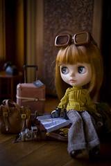 a little journey (JennWrenn) Tags: newzealand doll map stock binoculars blythe custom passport maxine primadollyaubrena phoebemaybeblouse happycameratrousersandcamera savetheanimalsbagandsunglasses
