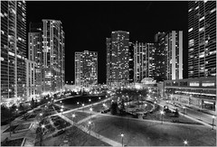 Lakeshore East (thirdeyeguy) Tags: light bw chicago monochrome night canon dark star illinois cityscape time courtyard il east 7d lakeshore