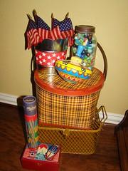Americana vignette 617 (sricamore2) Tags: vintage picnic basket top patriotic flags americana marbles 4thofjuly vignette pickupsticks metalbank metalpicnicbasket