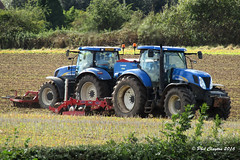 New Holland (Philthy Lens) Tags: new holland t7030 shropshire harrow seed drill seeding canon sx410 sowing superzoom zoom september 2016 heat haze tractor