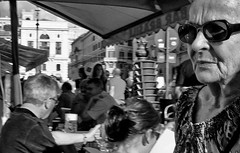 Busy little bar. (Baz 120) Tags: candid candidstreet candidportrait city candidface candidphotography contrast street streetphoto streetcandid streetphotography streetphotograph streetportrait streetfaces rome roma romepeople romecandid romestreets monochrome monotone mono blackandwhite bw urban noiretblanc voigtlandercolorskopar21mmf40 life leicam8 leica primelens portrait people unposed italy italia girl grittystreetphotography flashstreetphotography faces flash decisivemoment strangers