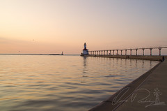 Michigan City East Light At Sunset (IRick Photography) Tags: michigan city lake lakes water wave waves sun set setting sunset dusk lighthouse light house east dock docks