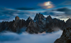 [cadini] (Ennio Pozzetti) Tags: dolomites italy moonlight cadinidimisurina dolomiti italia mountains blue hours bluehours light clouds fog mist cold moon wow