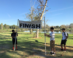 003 The Finish Banner Is Exiled (saschmitz_earthlink_net) Tags: 2016 california longbeach eldorado orienteering laoc losangelesorienteeringclub losangeles losangelescounty eldoradoeastregionalpark park parks finish banner