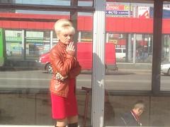Дама в красном (GrusiaKot) Tags: ucraina ukraine україна украина travelling autumn woamn lady red suspicious smoking hair kharkiv kharkov saltovka