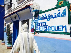 Hotel Chefchaouen (Lindsay Shanley) Tags: morocco chefchaouen hotelchefchaouen hood blue bluecity color contrast burka