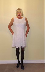 White dress2! (donnacd) Tags: sissy tgirl clit clitty tgurl jewels dressing crossdress crossdresser cd travesti transgenre xdresser crossdressing feminization tranny tv ts feminized domina donna red dress scarf heels gold crossed legs pumps shoes panties thong polka dots white blouse earrings hair black stockings tights bra fishnet corset necklace collar