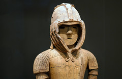 Haniwa warrior in keiko armor, bust from left
