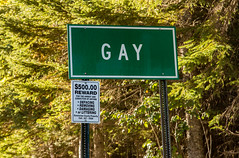 Gay, Michigan (Tony Webster) Tags: cityofgay gaylaclabelleroad keweenawcounty keweenawpeninsula michigan townofgay upperpeninsula gay sign lakelinden unitedstates us