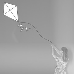 Up where the air is clear (Sarah-Louise Burns) Tags: girl surreal surrealism vintage retro kite