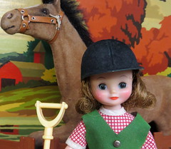 6. Betsy and Merry Belle (Foxy Belle) Tags: betsy mccall doll tiny vintage 8 pony pals horse farm stable fall trees color paint number hay brush fence diorama miniature 16 dollhouse