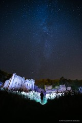 'Don't Ever Die Wondering' (john&mairi) Tags: gwrych castle abergele ruined derelict abandoned northwales hillside wooded milkyway stars night nighttime nightsky lightpainting lenserp7 torch figure silhouette me owls