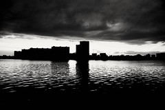 Night is coming. (rededia) Tags: monochrome blackandwhite nikon tamron city cityscape sunset evening water river reflection sky cloud