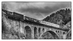 Kjeåsbrua (la1cna) Tags: bridge norway train railroad monochrome telemark stonebridge archbridge