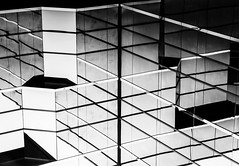 Glass and Metal Abstract #36 (ammozug) Tags: abstract architecture bw monochrome lines metal glass reflection