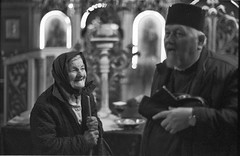 The old lady and her confessor (horosu) Tags: leica church kodak trix mp rodinal reportage classicblackwhite konicahexanon60mmf12ltm hommageadoisneau peromaneste 4tografie