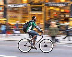 New York style (jeremyhughes) Tags: street city nyc newyorkcity urban newyork motion speed cycling movement nikon cyclist discbrake manhattan sigma style nike singlespeed fixed fixie fixedgear messenger courier panning slalom sephora diskbrake bikemessenger deepv fixedwheel cyclecourier d700