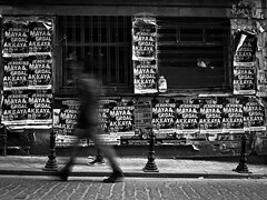 walking on the streets // istanbul, turkey (pamela ross) Tags: street longexposure blackandwhite bw wall pen turkey maya olympus istanbul posters ep1 erdal akkaya
