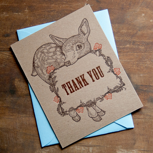 Fawn Thank You Letterpress Cards from Pheasant Press