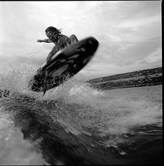 air grab by Artem (Vsevolod Vlasenko) Tags: bw 120 wake air hasselblad surfin wakesurf wakesurfing actionsport ilford400 distagon50mm surfair surfinginmoscow