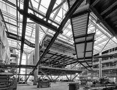 CLSB NW Atrium Ground B&W (Alene Davis) Tags: building stairs construction steel ramps atrium lifts clsb clsbskt