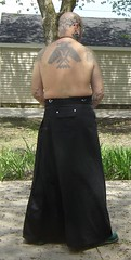 black Erosemo skirt 3 (old_hippie_1954) Tags: shirtless shaved bald hippie shavedhead barechest skinhead maninskirt manskirt skirtedman visibletattoos mebarechest erosemoskirt