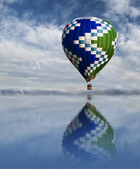 Reflection (Cat Girl 007) Tags: above travel blue reflection up festival manipulated outdoors fly moving colorado colorful basket air balloon earlymorning bluesky aerial transportation airship hotairballoon rise float airtravel aeronautical nylonfabric eriecolorado 2013erietownfairandhotairballoonfestival