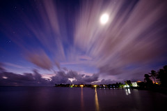 Marathon Moon at Sunrise (SPangborn) Tags: longexposure moon color clouds sunrise stars dock florida marathon wideangle fl