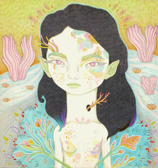 nature princess (art-creature) Tags: flowers plants art nature girl illustration artwork princess drawing creature